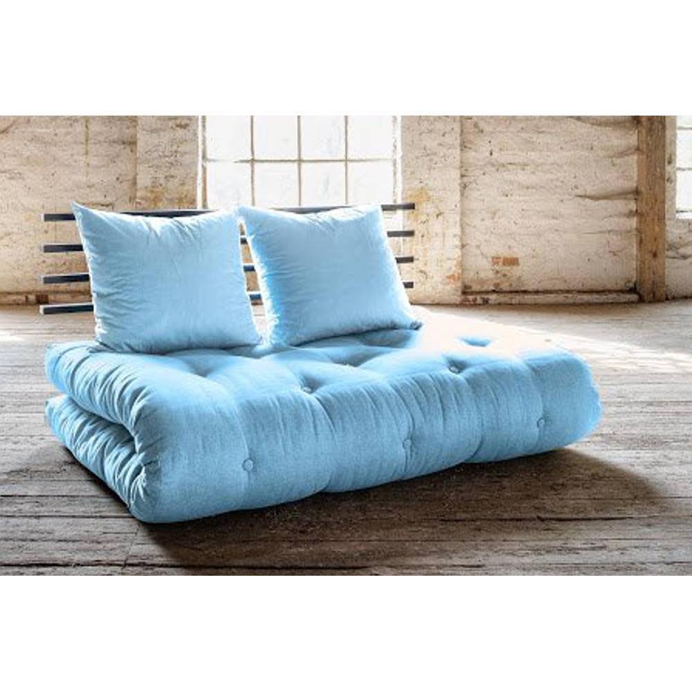 canap s futon canap s et convertibles canap lit noir shin sano futon bleu celeste couchage. Black Bedroom Furniture Sets. Home Design Ideas