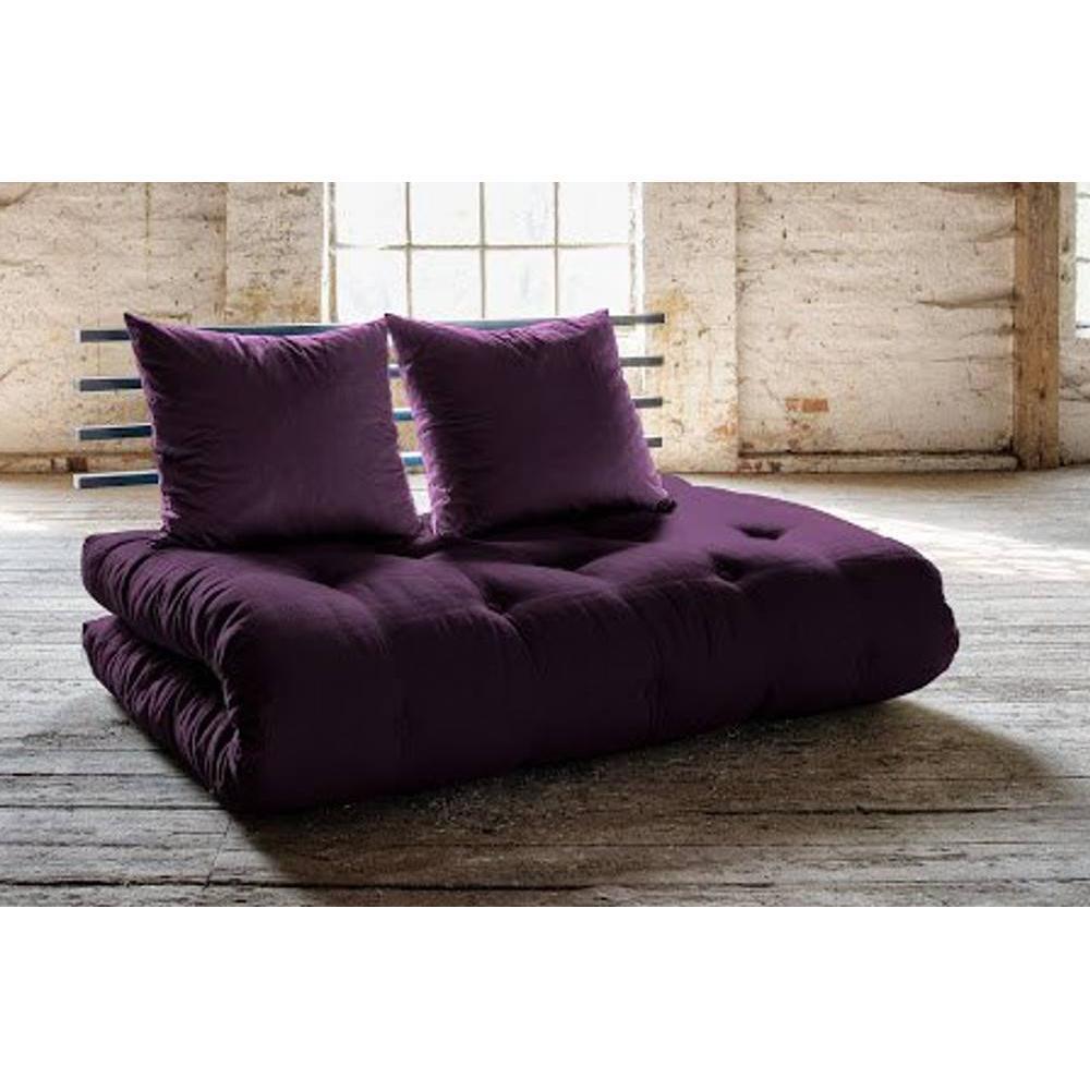 canap s futon canap s et convertibles canap lit noir shin sano futon violet couchage 140. Black Bedroom Furniture Sets. Home Design Ideas