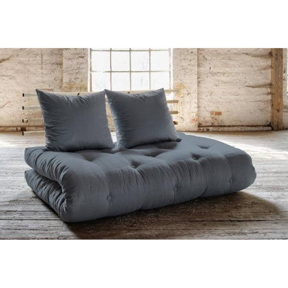 canap s futon canap s et convertibles canap lit en pin massif shin sano futon gris couchage. Black Bedroom Furniture Sets. Home Design Ideas