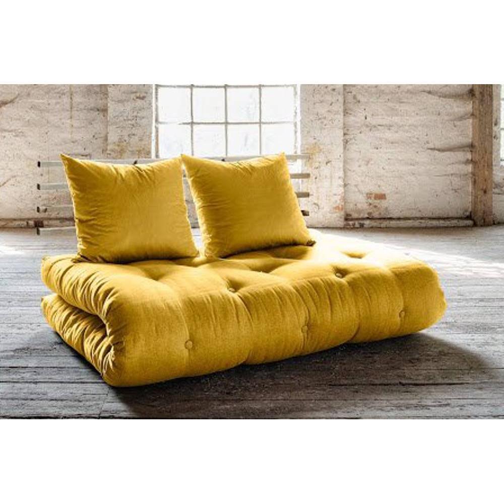 canap s futon canap s et convertibles canap lit en pin massif shin sano futon jaune couchage. Black Bedroom Furniture Sets. Home Design Ideas
