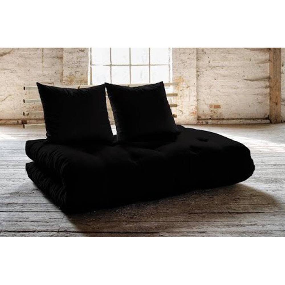 canap s futon canap s et convertibles canap lit en pin massif shin sano futon noir couchage. Black Bedroom Furniture Sets. Home Design Ideas