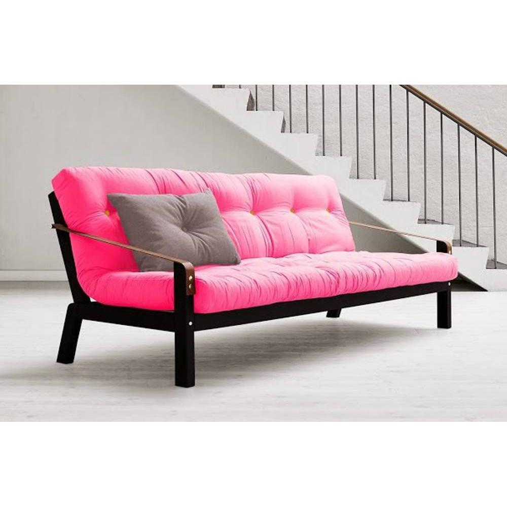 Canap noir 3 4 places convertible poetry futon magenta couchage 130 190cm - Canape convertible rose ...