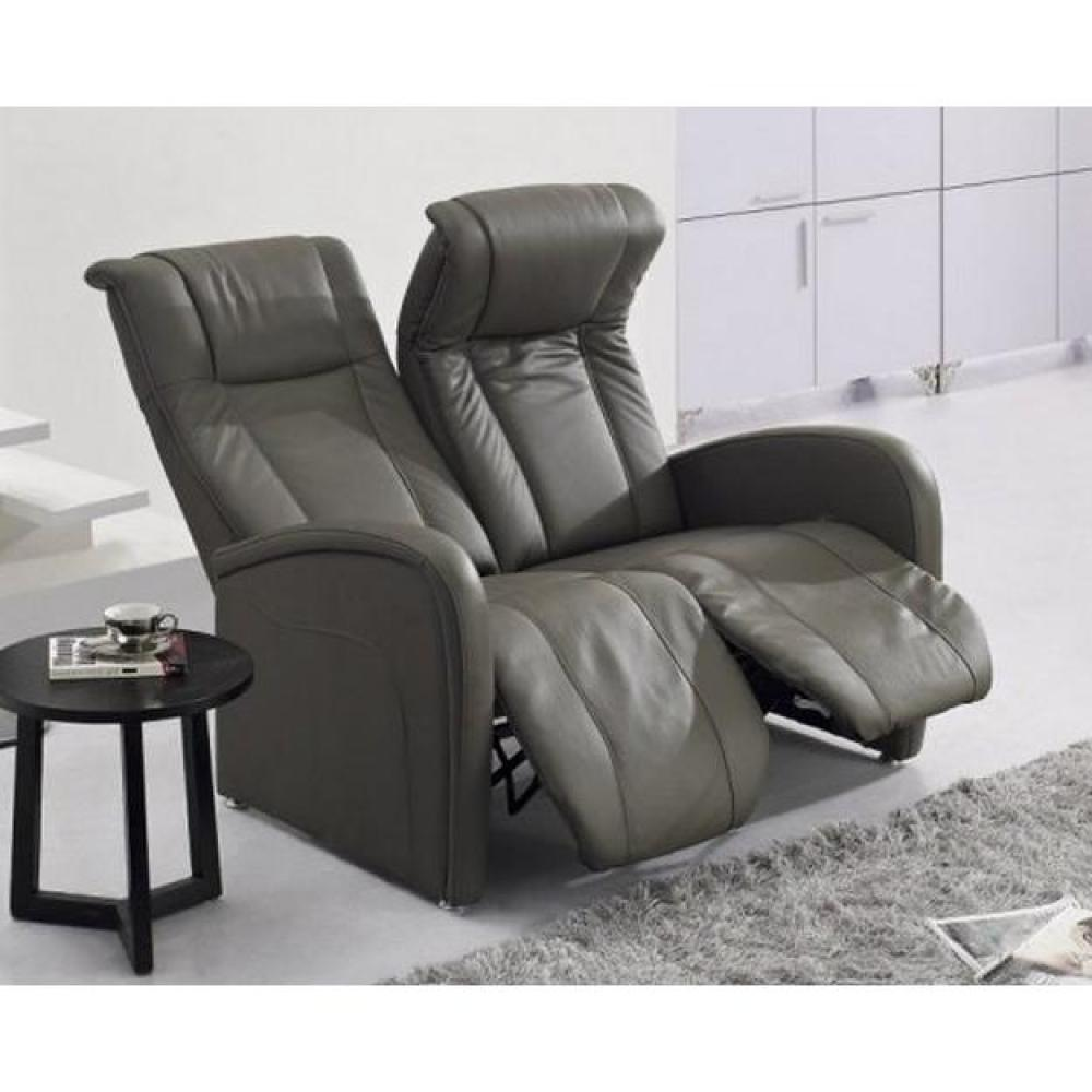Canap s relax canap s et convertibles desire canap relax cuir vachette gris - Canape convertible relax ...