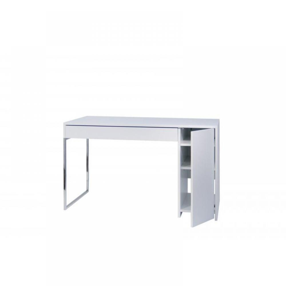 Temahome prado bureau laque blanc pieds chrome design ebay for Bureau blanc laque