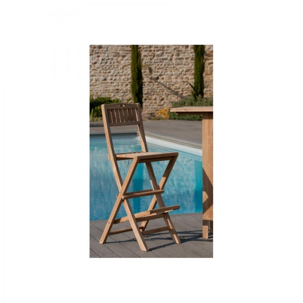 Chaises tables et chaises chaise de bar de jardin fun en teck inside75 for Chaise de jardin inox