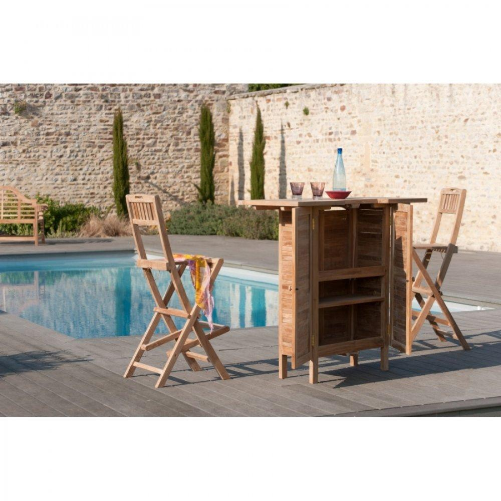 chaises tables et chaises chaise de bar de jardin fun en teck inside75. Black Bedroom Furniture Sets. Home Design Ideas
