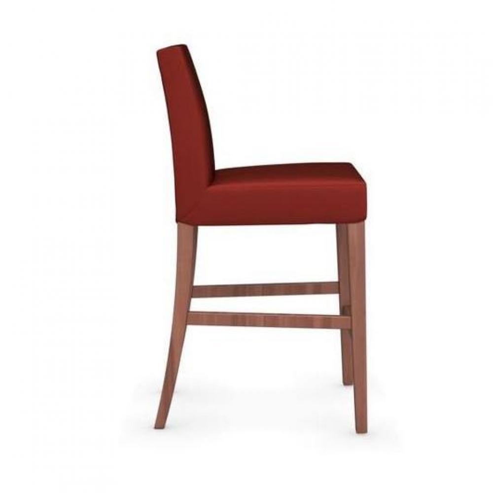Chaises tables et chaises calligaris chaise de bar latina pi tement noyer assise tissu rouge for Chaise de bar rouge