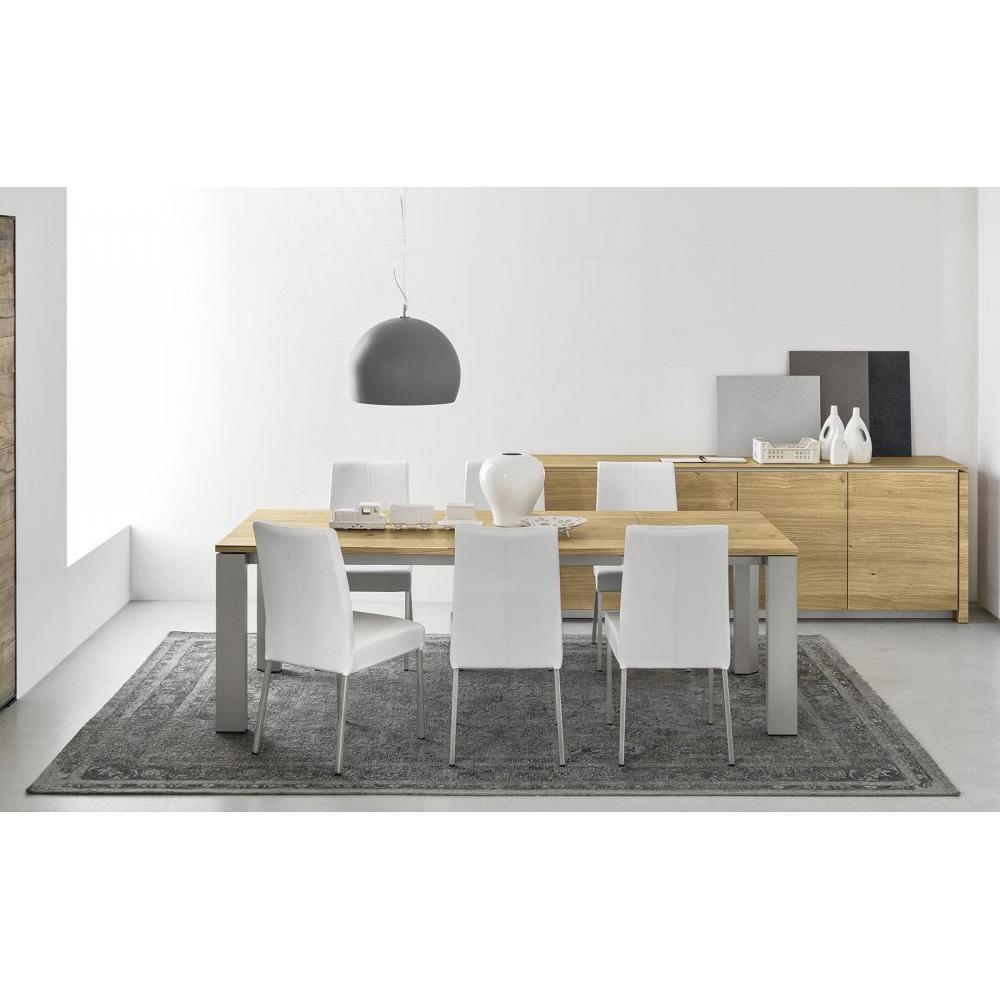 chaises tables et chaises calligaris chaise berliner haut de gamme en cuir coloris blanc et. Black Bedroom Furniture Sets. Home Design Ideas