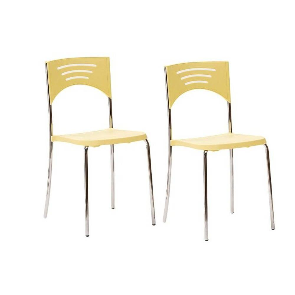 Chaises tables et chaises lot de 2 chaises break design for Chaise jaune design