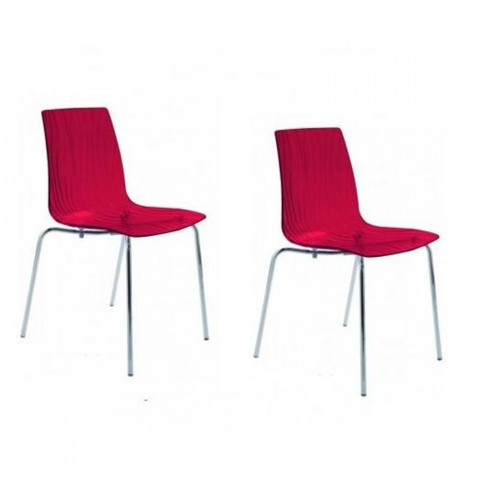chaises tables et chaises lot de 2 chaises calima empilable design rouge inside75. Black Bedroom Furniture Sets. Home Design Ideas