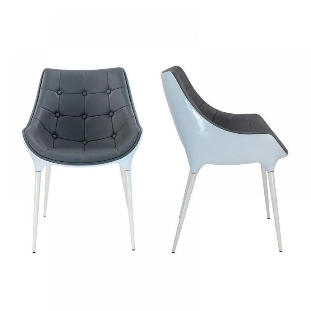chaises tables et chaises club chaise capitonnee plastique pieds inox gris fonce inside75. Black Bedroom Furniture Sets. Home Design Ideas