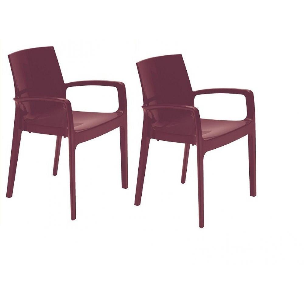 Chaises tables et chaises lot de 2 chaises cream empilable design aubergine - Chaise design empilable ...