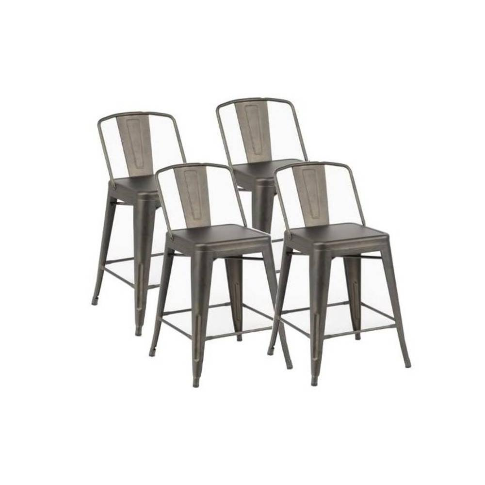 chaises de bar tables et chaises lot de 4 chaises de bar bilou en acier gris antique inside75. Black Bedroom Furniture Sets. Home Design Ideas
