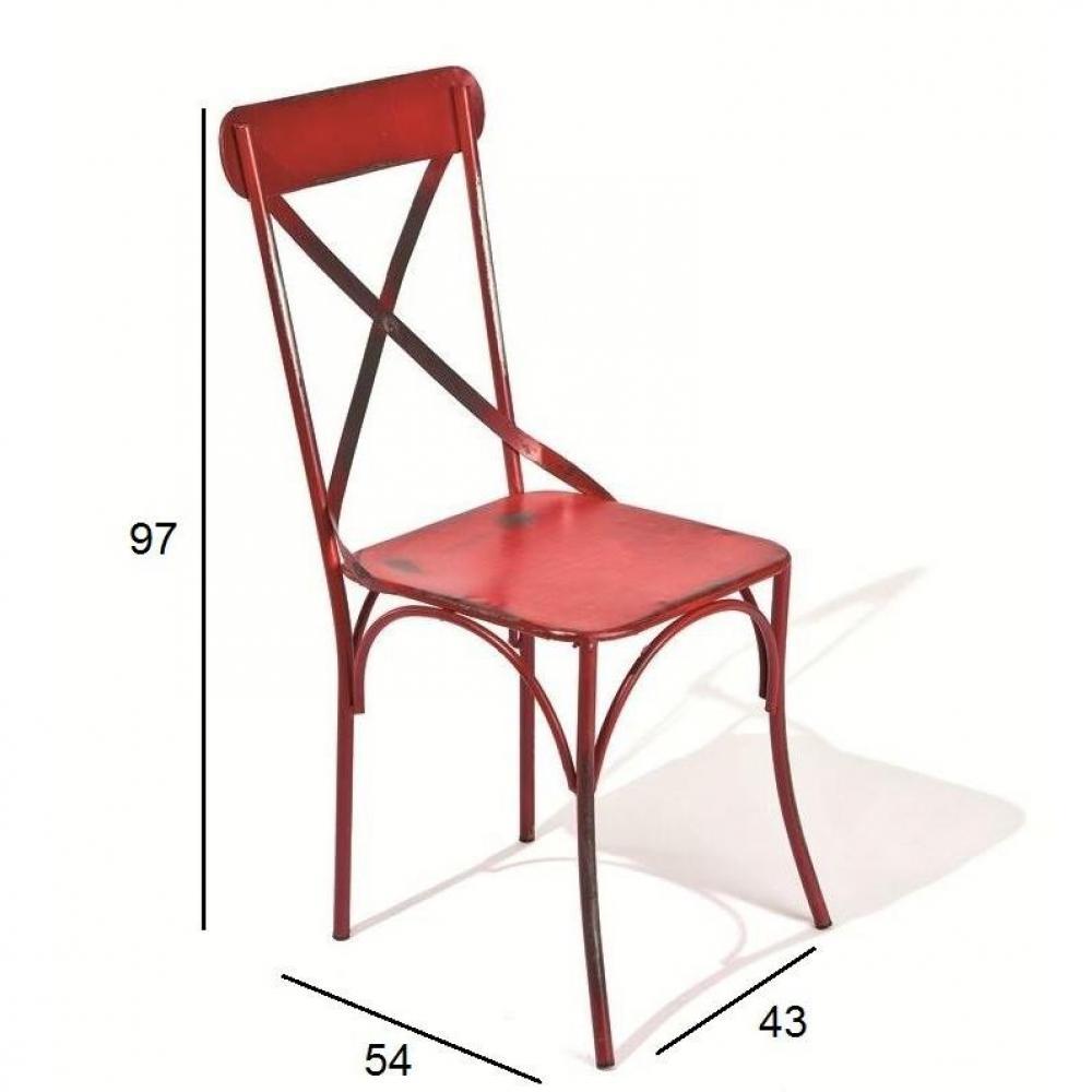 chaises tables et chaises lot de 2 chaises design bistro en acier rouge inside75. Black Bedroom Furniture Sets. Home Design Ideas