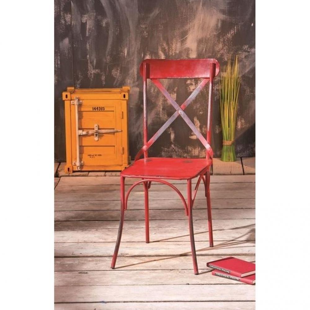 Chaises tables et chaises lot de 2 chaises design bistro for Chaise rouge et bleue