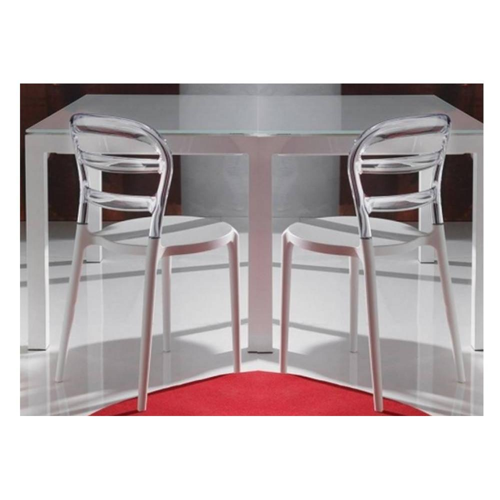 chaises tables et chaises lot de 2 chaises design dejavu en plexiglas transparent et blanc. Black Bedroom Furniture Sets. Home Design Ideas