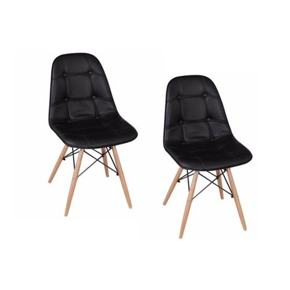 Chaises tables et chaises lot de 2 chaises design henry for Chaise bois noir