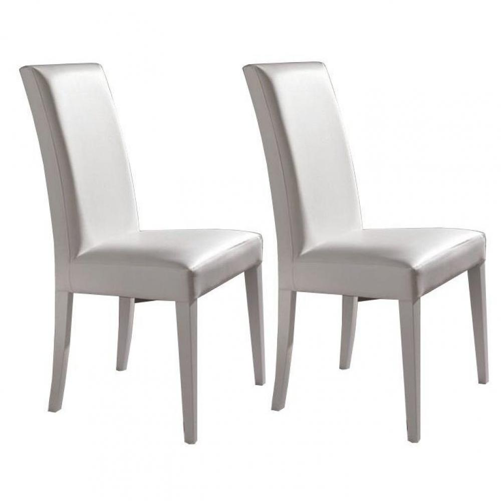 Chaises tables et chaises lot de 2 chaises design for Chaise cuir blanc