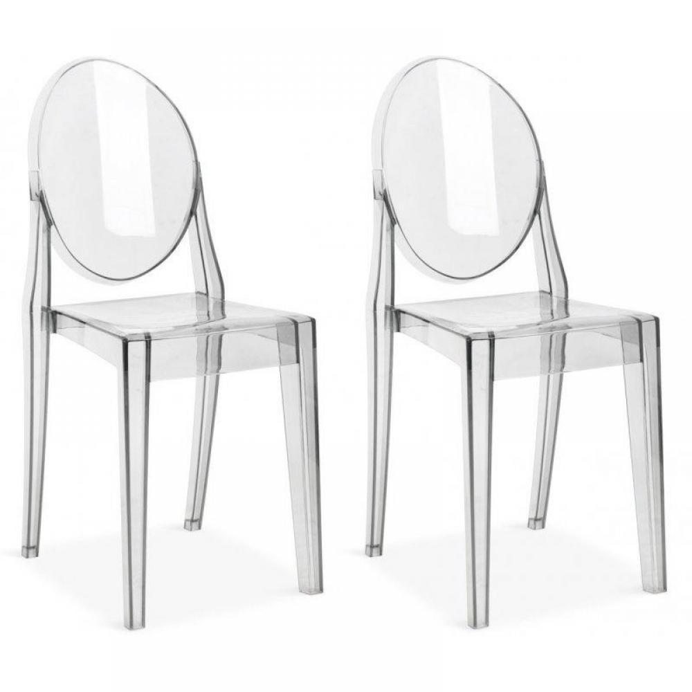 Chaises meubles et rangements lot de 2 chaises de salon for Chaises transparentes