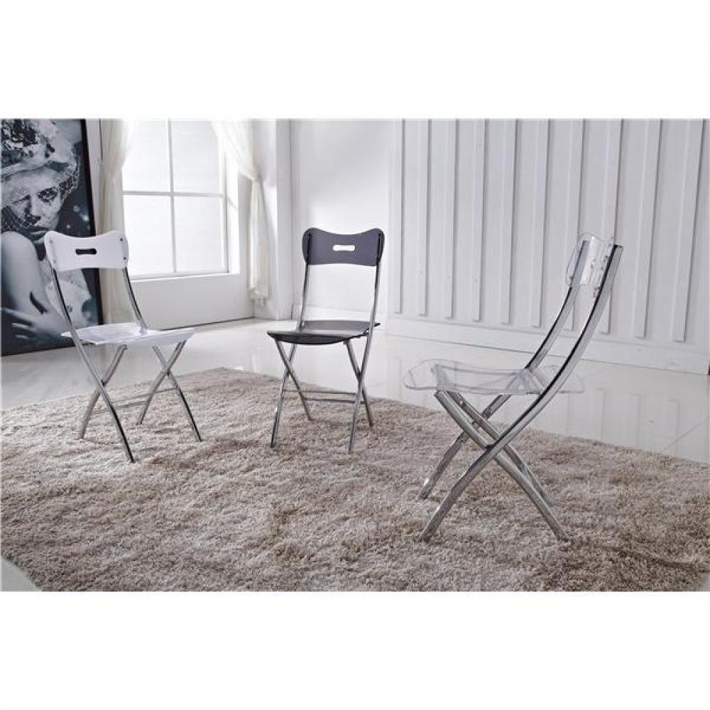 chaises pliantes tables et chaises lot de 2 chaises widow design en plexiglas blanche inside75. Black Bedroom Furniture Sets. Home Design Ideas
