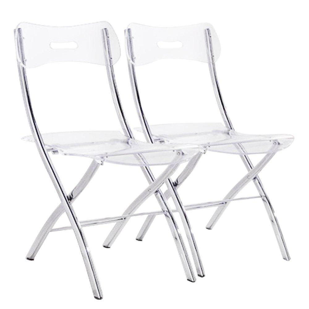 Chaises pliantes tables et chaises lot de 2 chaises pliantes widow en plexiglas transparent for Table et chaises pliantes