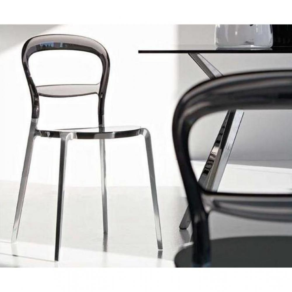 Chaises tables et chaises calligaris chaise design wien grise transparente - Chaise transparente grise ...