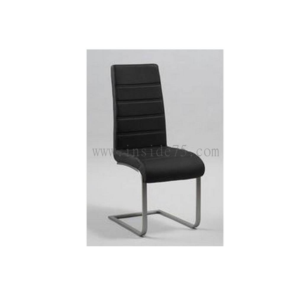 chaises tables et chaises chaise wind en cuir noir et acier inside75. Black Bedroom Furniture Sets. Home Design Ideas