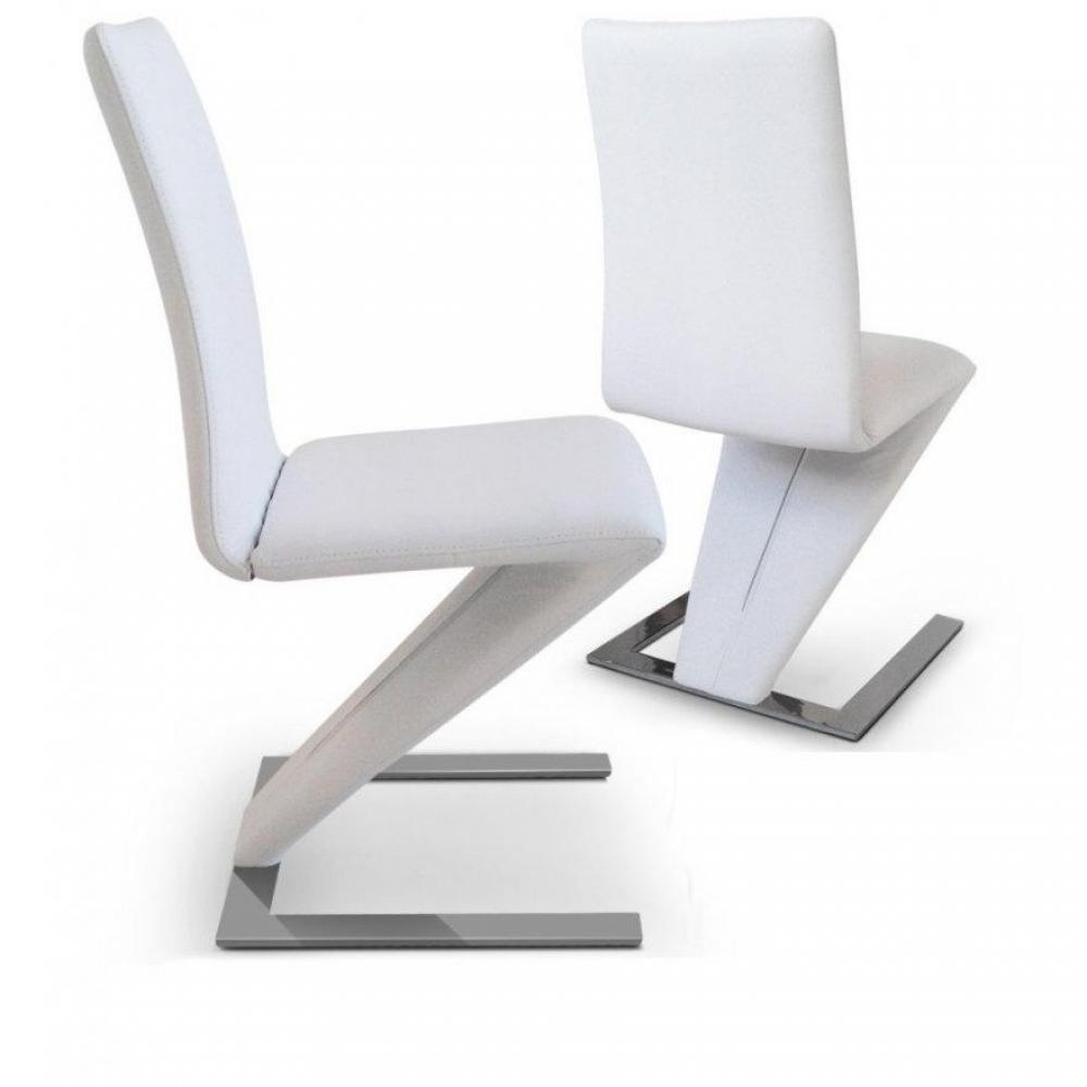 Chaises tables et chaises lot de 2 chaises de salon zaz for Chaise de table blanche