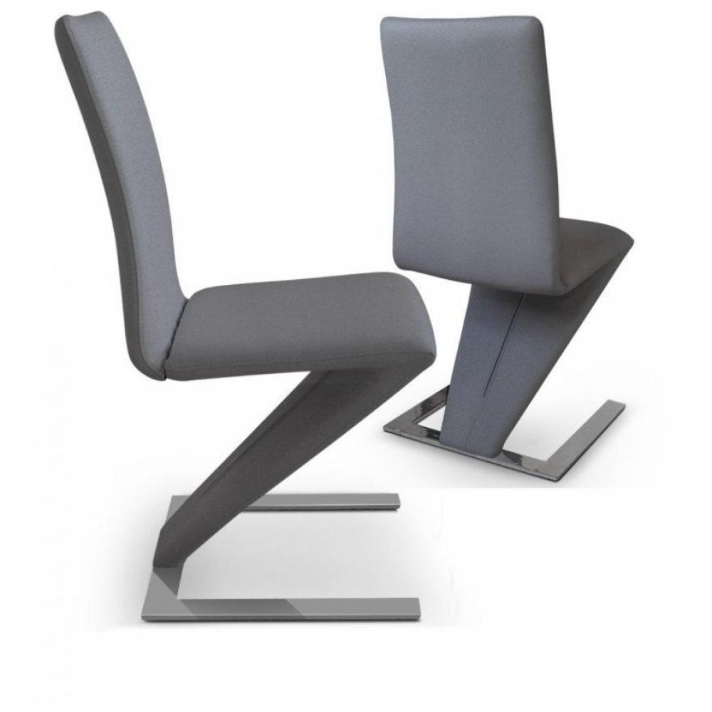 Chaises tables et chaises lot de 2 chaises de salon zaz for Chaise grise salon