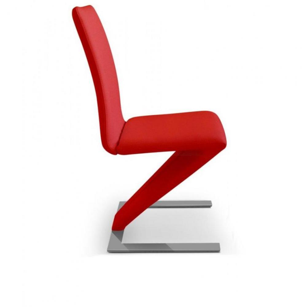 Chaises tables et chaises lot de 2 chaises design zaz for Chaise design rouge
