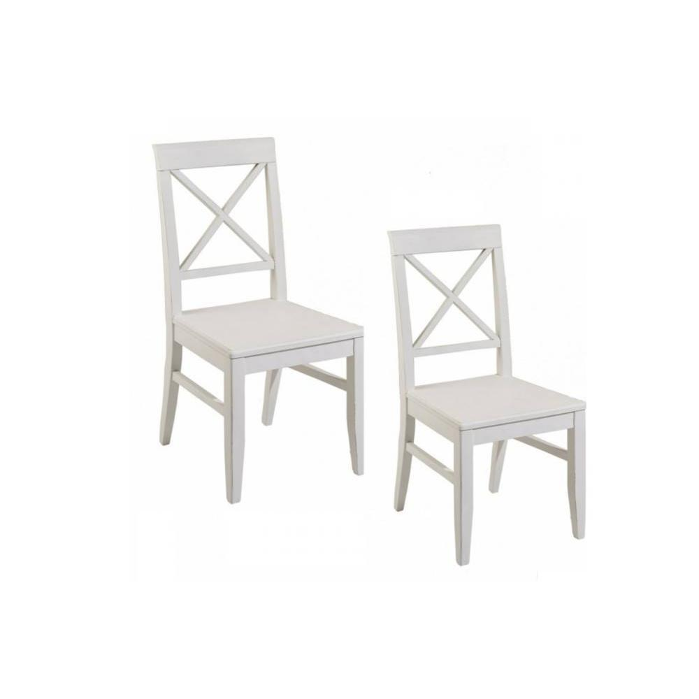 chaises tables et chaises lot de 2 chaises eva en bois blanc style charme colonial inside75. Black Bedroom Furniture Sets. Home Design Ideas