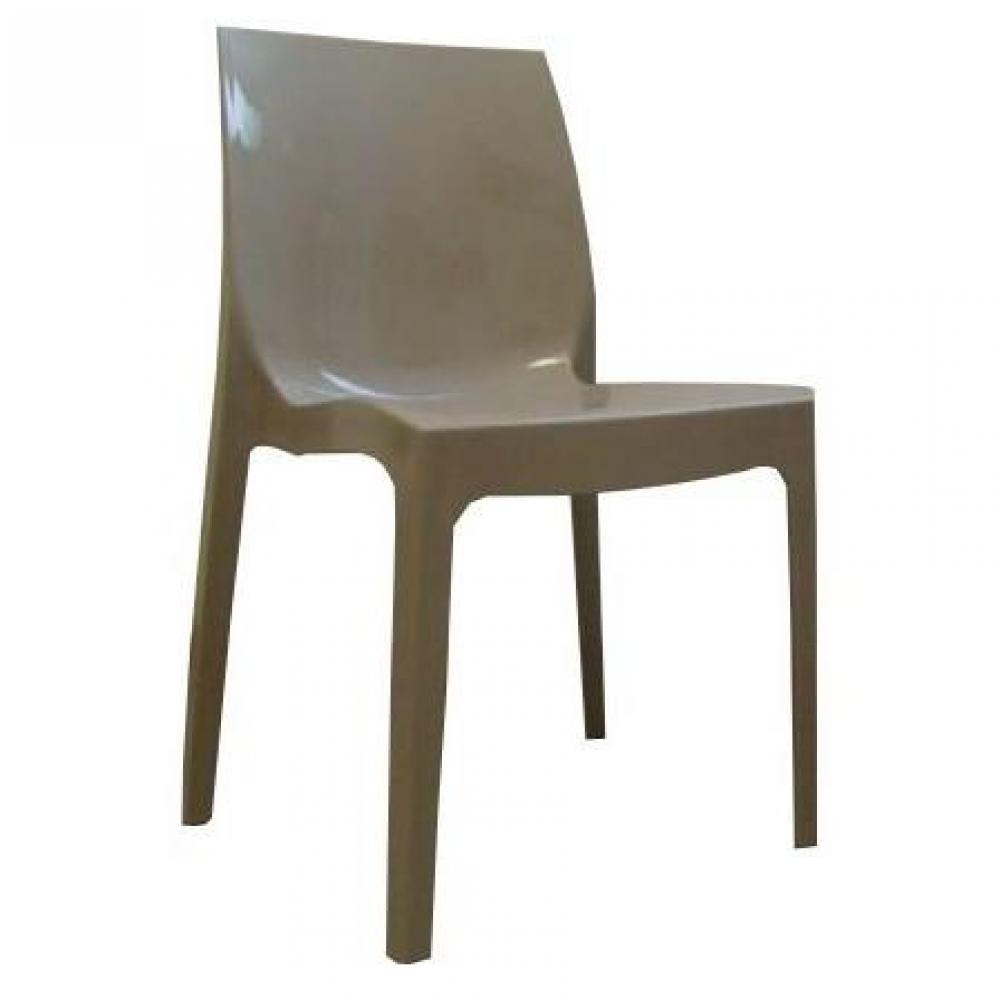 chaises tables et chaises lot de 2 chaises haut de gamme falena empilables taupe brillant. Black Bedroom Furniture Sets. Home Design Ideas