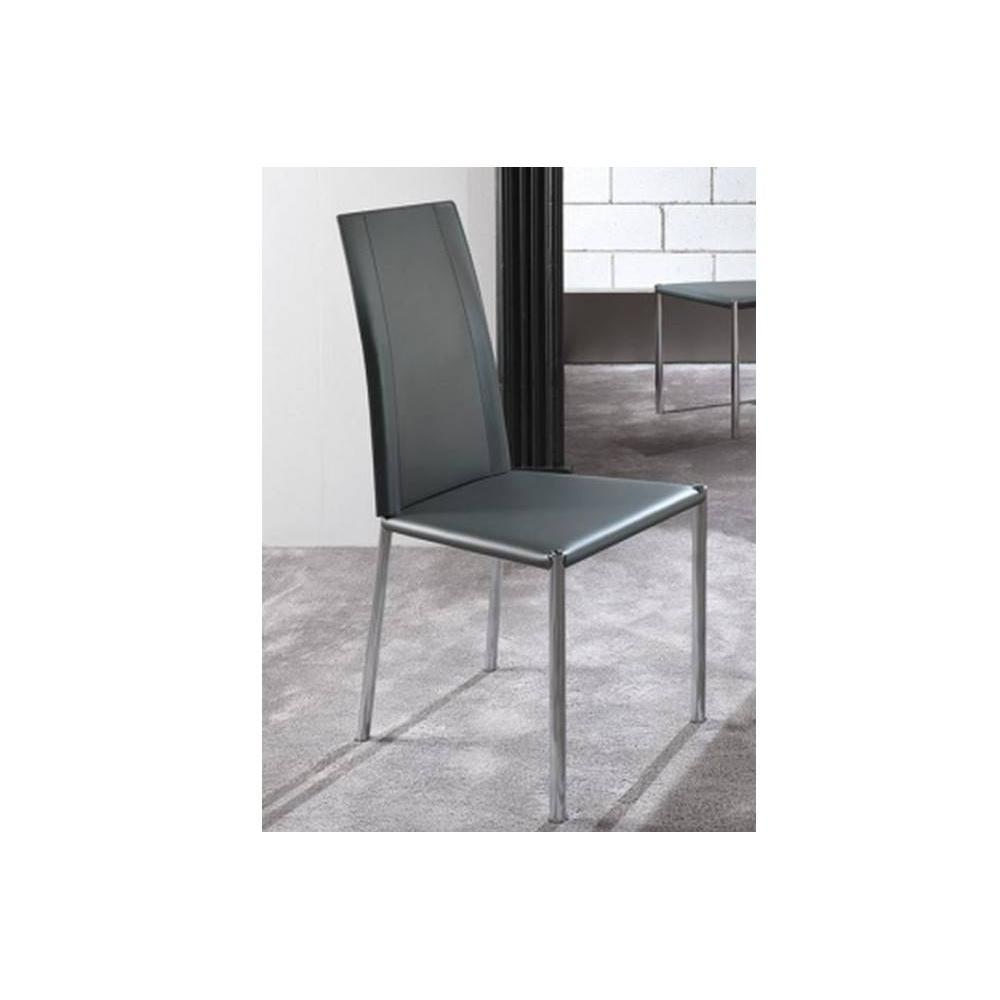 chaises tables et chaises chaise laser en tissu enduit polyur thane simili fa on cuir gris. Black Bedroom Furniture Sets. Home Design Ideas
