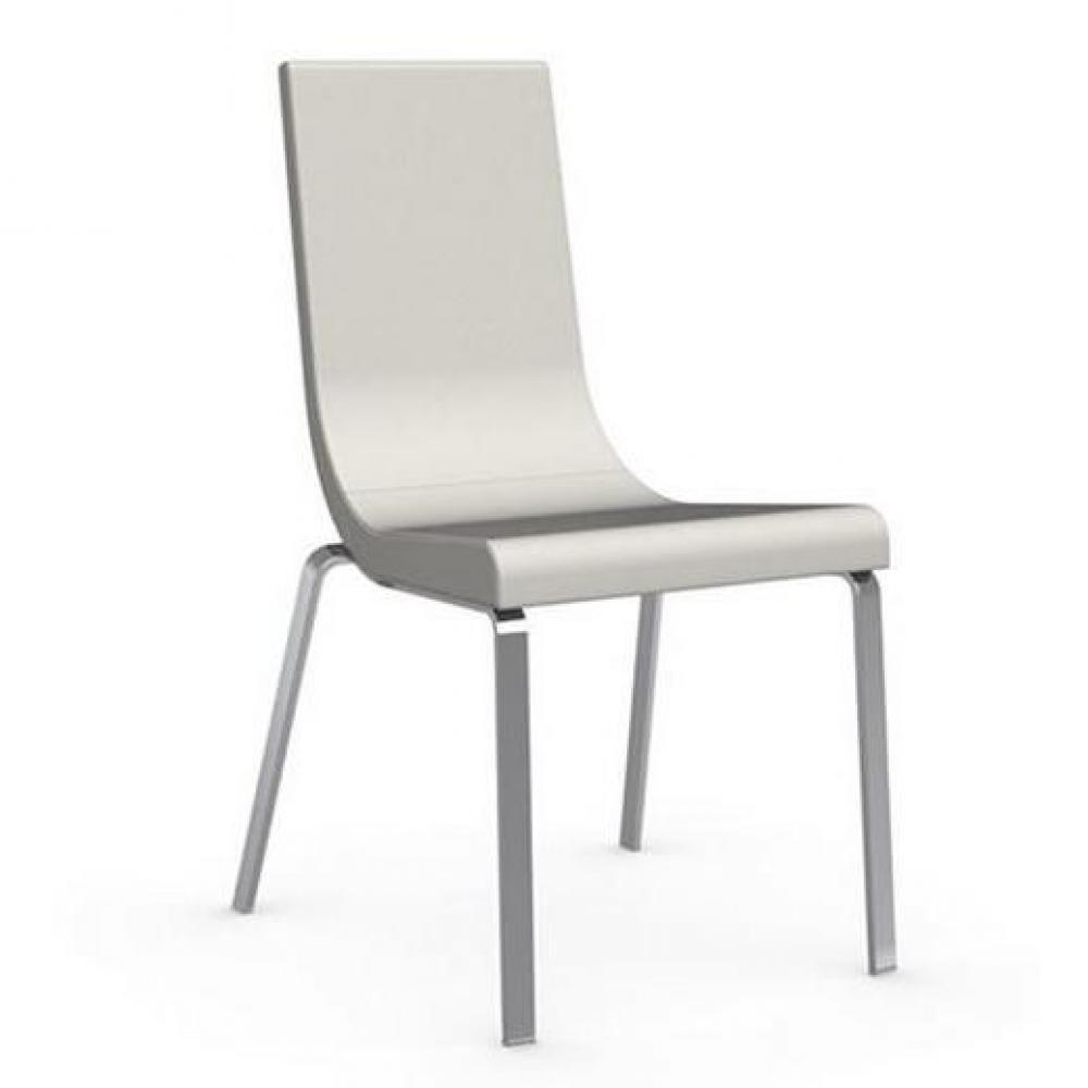 chaises tables et chaises calligaris chaise haut de gamme cruiser assise cuir blanc inside75. Black Bedroom Furniture Sets. Home Design Ideas