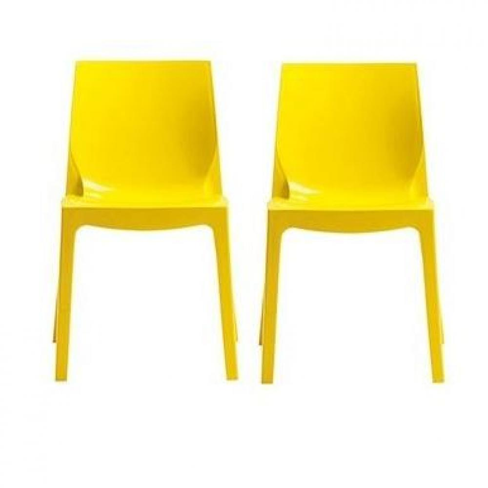 Chaises tables et chaises lot de 2 chaises ice empilable for Chaise jaune design