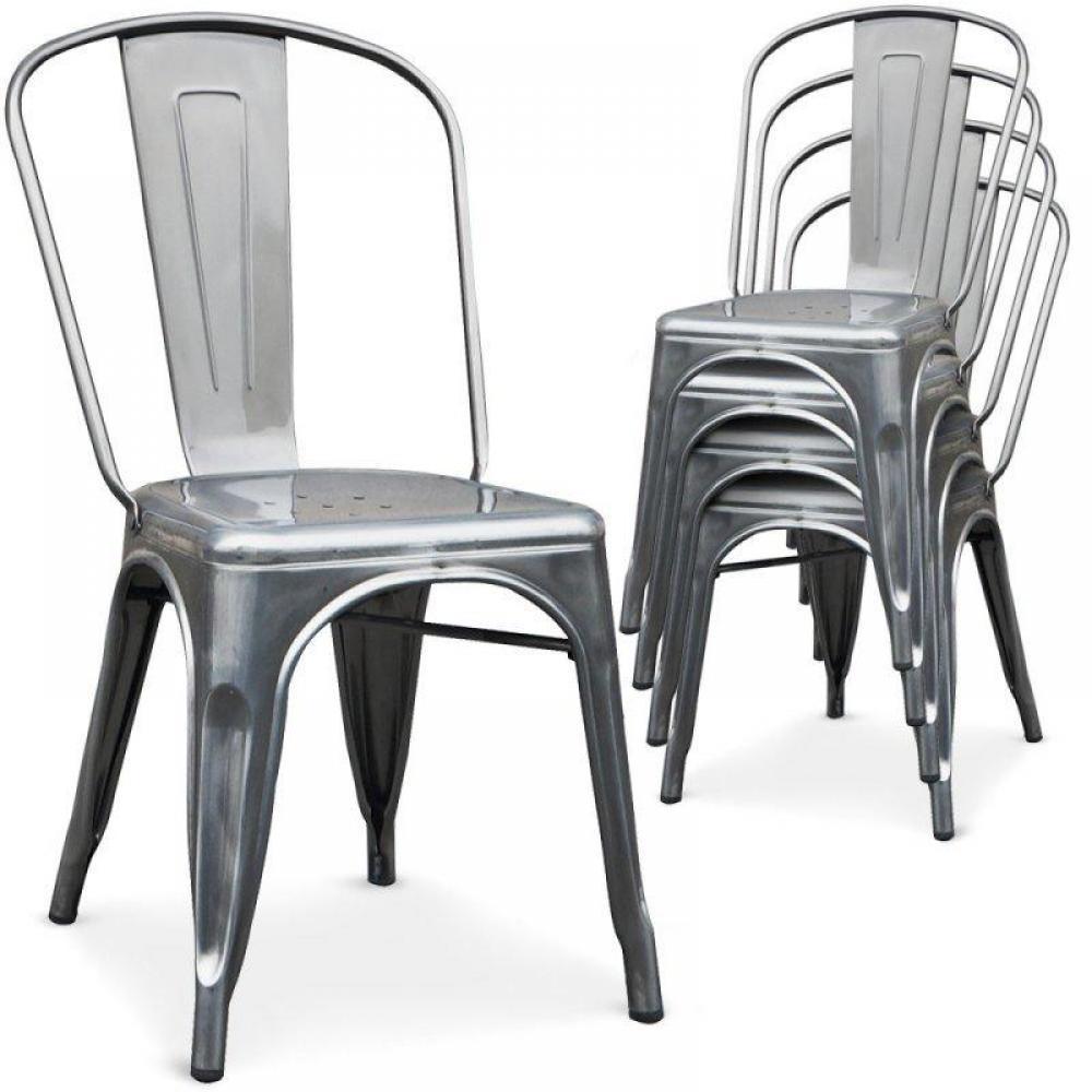 chaises meubles et rangements lot de 2 chaises industry en acier chrom inside75. Black Bedroom Furniture Sets. Home Design Ideas
