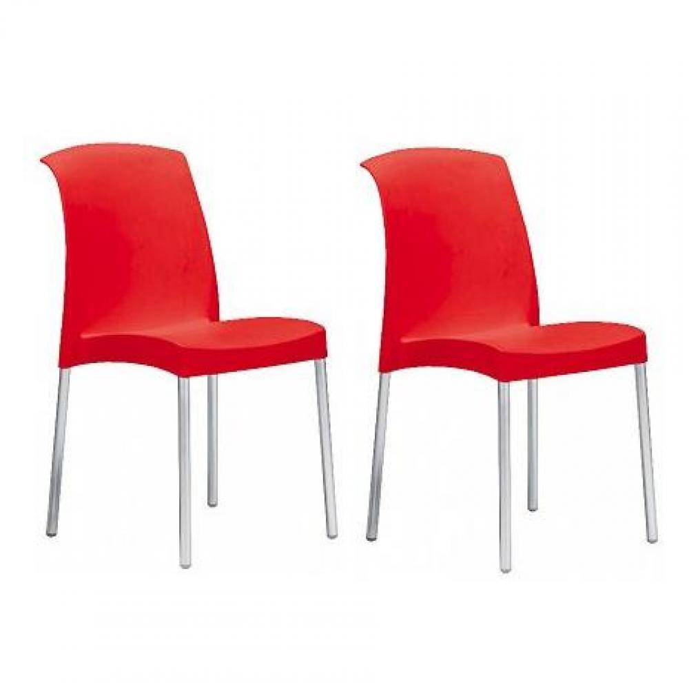 Chaises tables et chaises lot de 2 chaises jane design rouge for Chaise design rouge