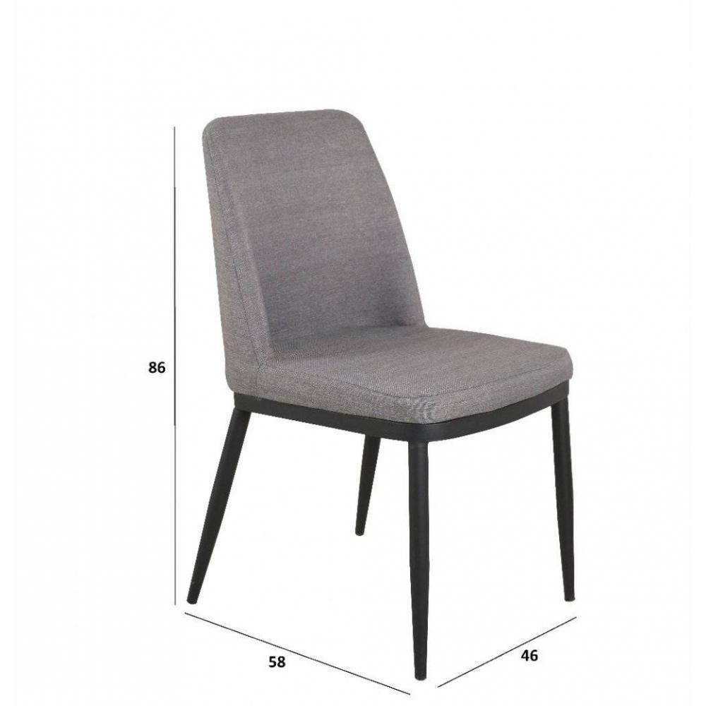 chaises tables et chaises chaise links design tissu gris clair inside75. Black Bedroom Furniture Sets. Home Design Ideas