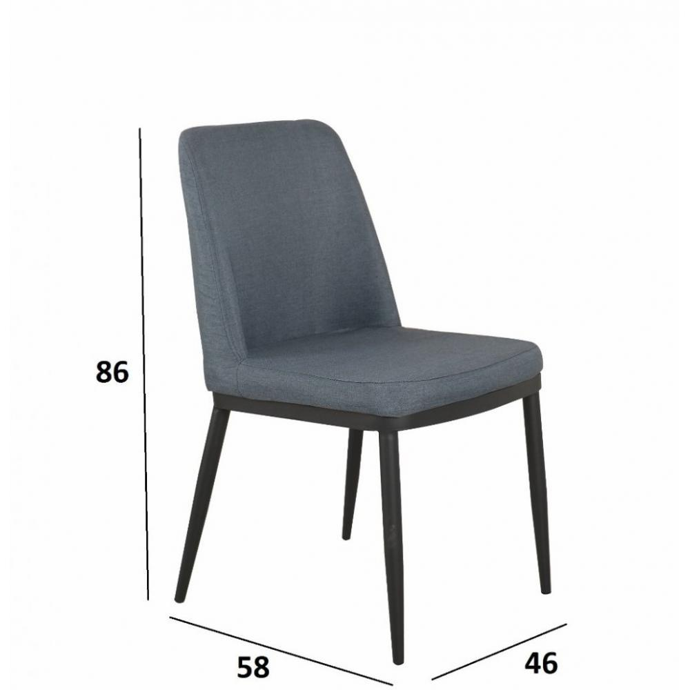 chaises tables et chaises chaise links design tissu bleu jeans inside75. Black Bedroom Furniture Sets. Home Design Ideas