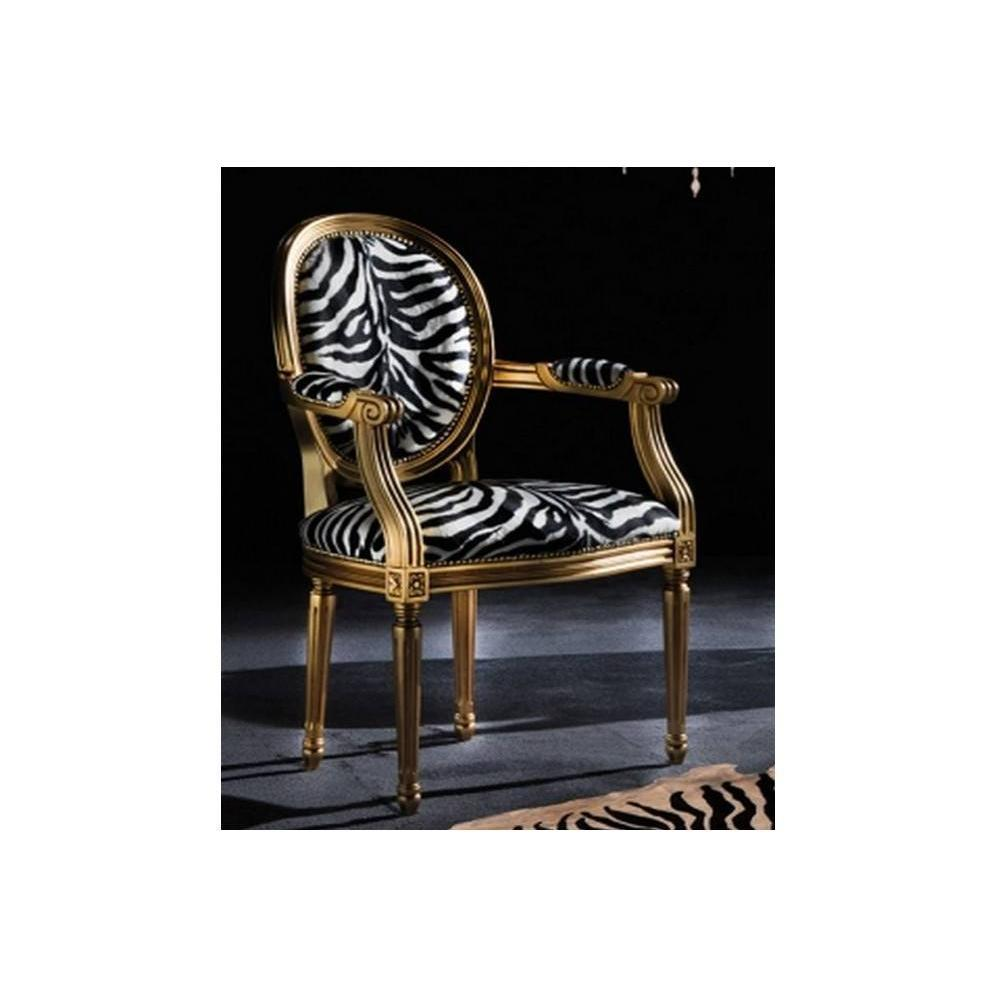 chaises tables et chaises chaise medaillon cleopatra en microfibre zebre inside75. Black Bedroom Furniture Sets. Home Design Ideas