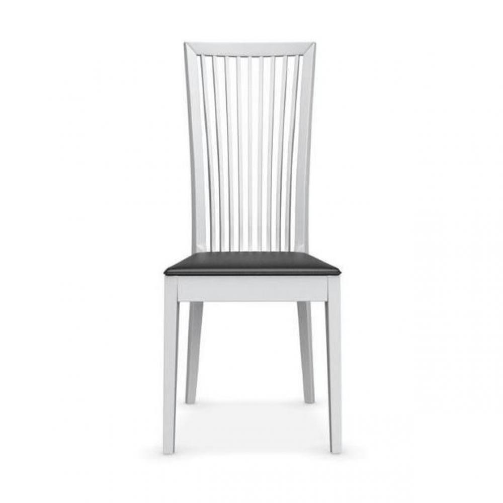 chaises tables et chaises calligaris chaise philadelphia blanche assise cuir noir inside75. Black Bedroom Furniture Sets. Home Design Ideas