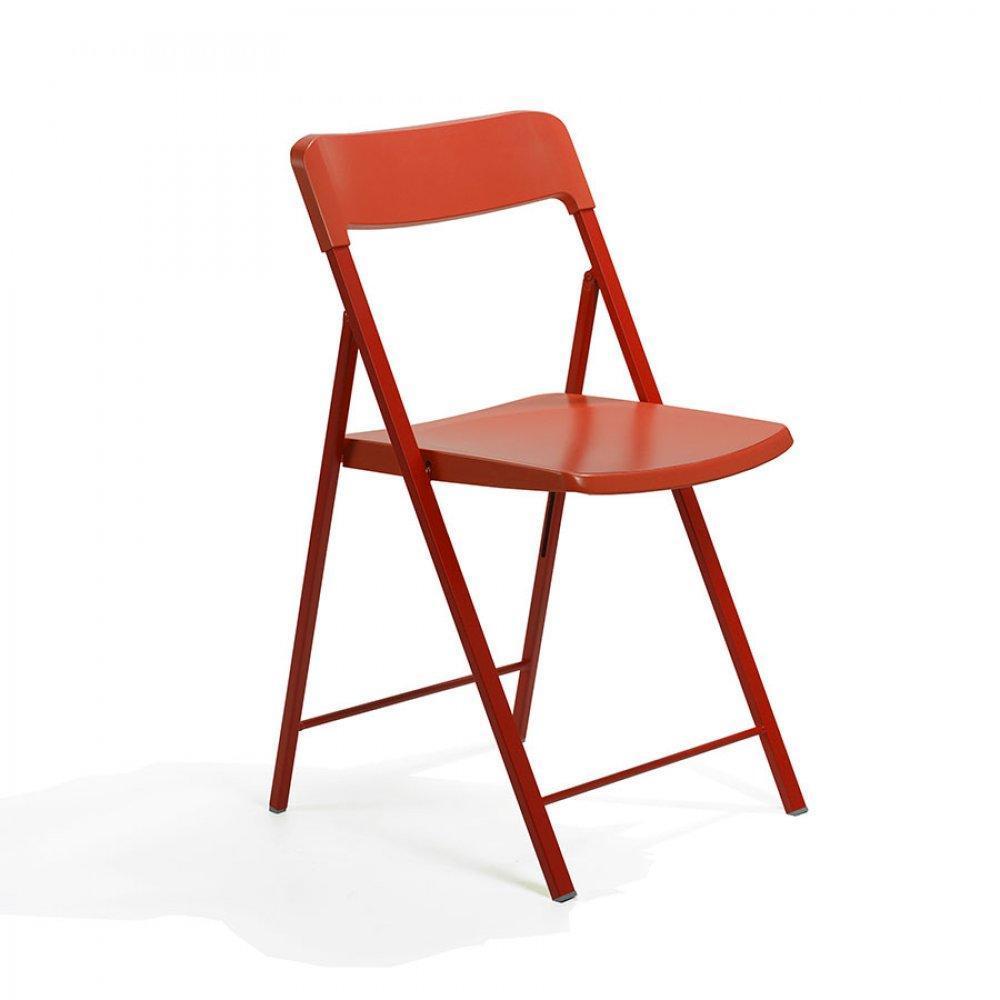 Chaises pliantes tables et chaises lot de 2 chaises pliantes kully en plast - Chaise plastique rouge ...