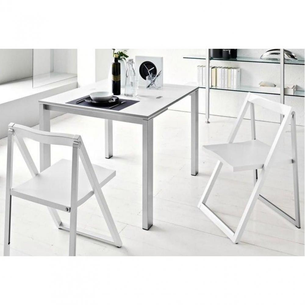 chaises pliantes tables et chaises calligaris chaise pliante skip blanche et aluminium satin. Black Bedroom Furniture Sets. Home Design Ideas