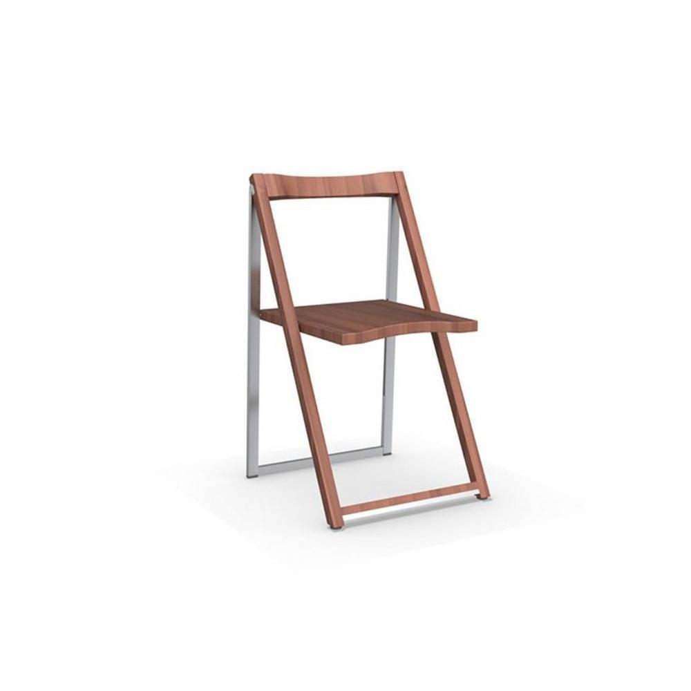 CALLIGARIS Chaise pliante SKIP noyer et aluminium satiné