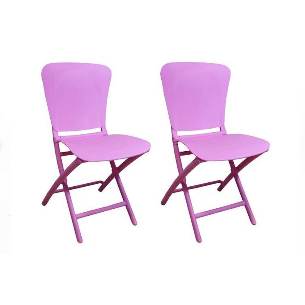 chaises pliantes tables et chaises lot de 2 chaises pliante zak design lilas inside75. Black Bedroom Furniture Sets. Home Design Ideas