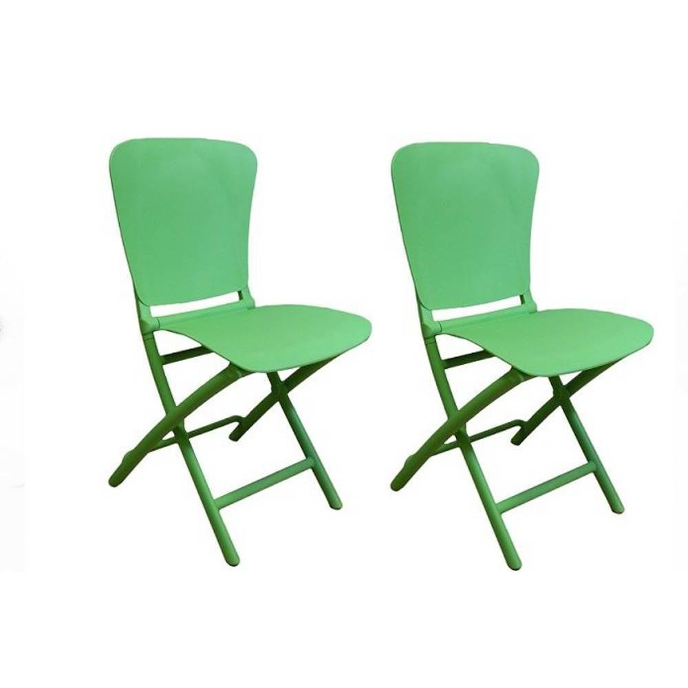 chaises pliantes tables et chaises lot de 2 chaises pliante zak design vert inside75. Black Bedroom Furniture Sets. Home Design Ideas