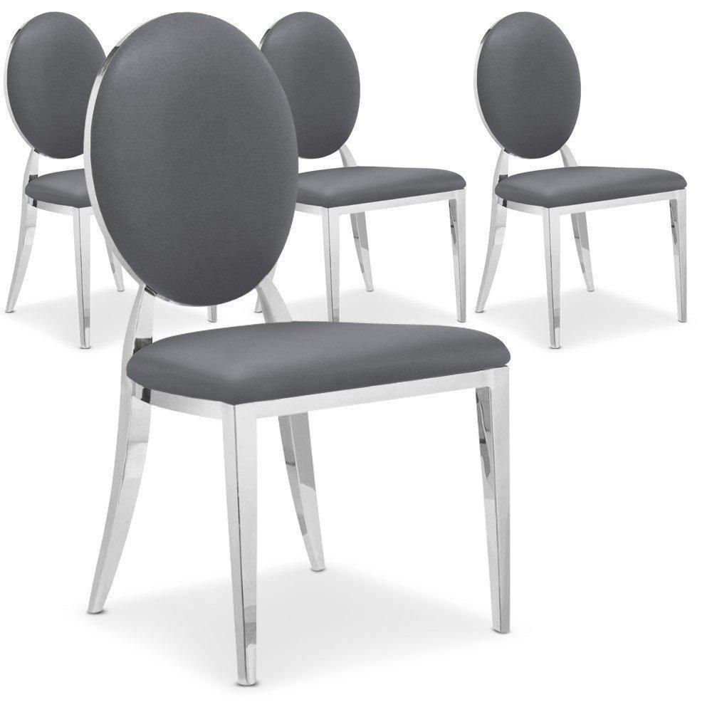 chaises tables et chaises lot de 4 chaises cassandra en simili cuir gris inside75. Black Bedroom Furniture Sets. Home Design Ideas