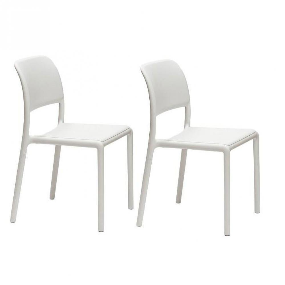 chaises tables et chaises lot de 2 chaises river empilables design blanc inside75. Black Bedroom Furniture Sets. Home Design Ideas