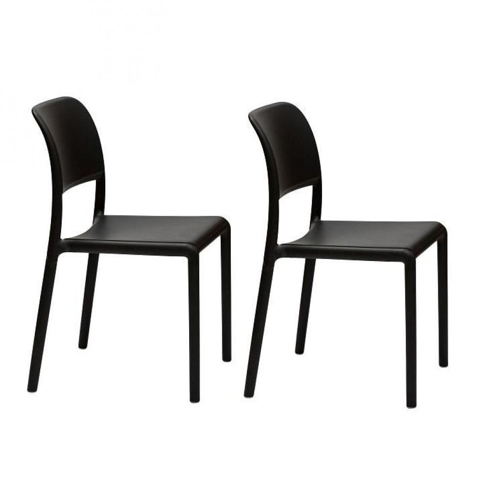 chaises tables et chaises lot de 2 chaises river empilables design anthracite inside75. Black Bedroom Furniture Sets. Home Design Ideas