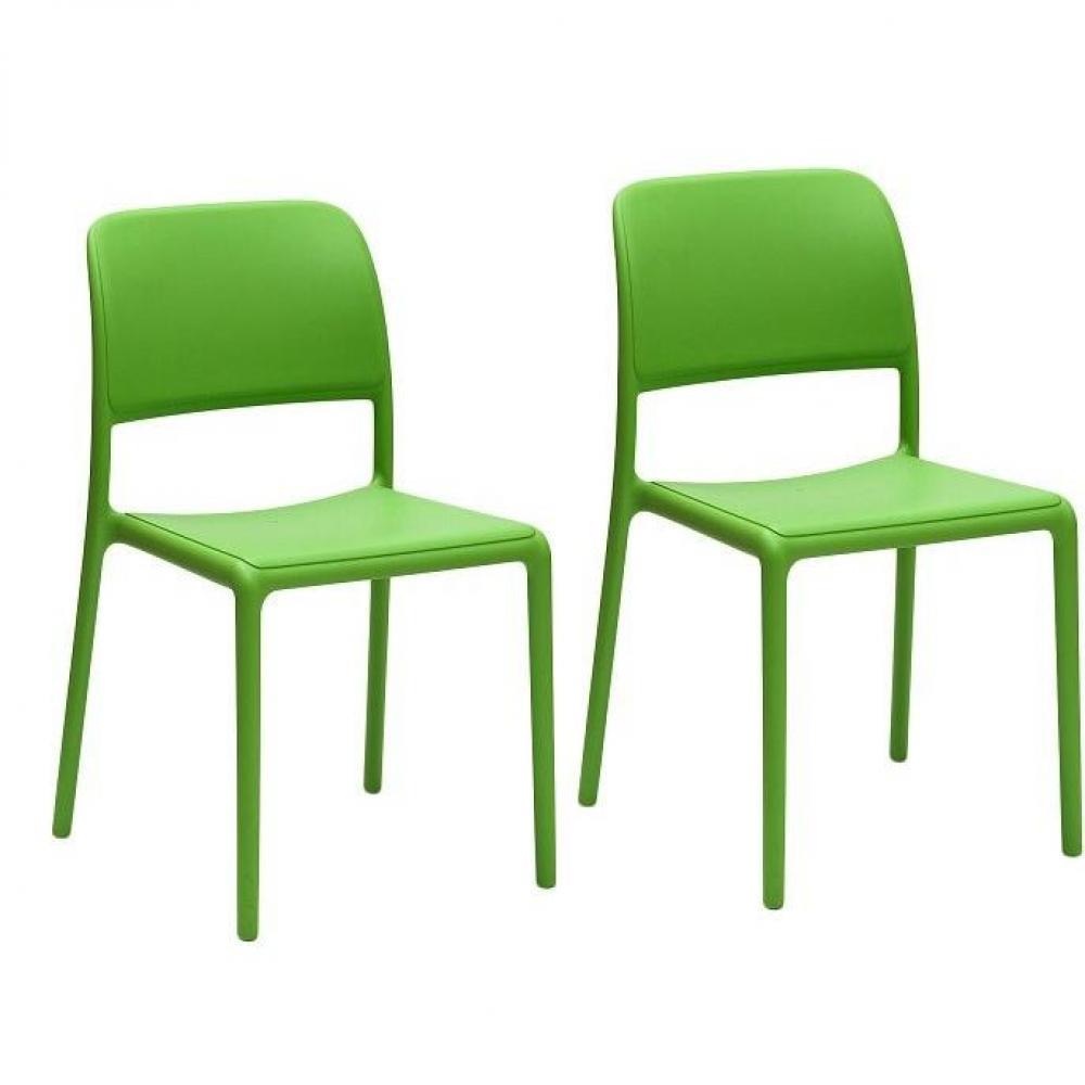 Chaises tables et chaises lot de 2 chaises river empilables design vert i - Chaises empilables design ...